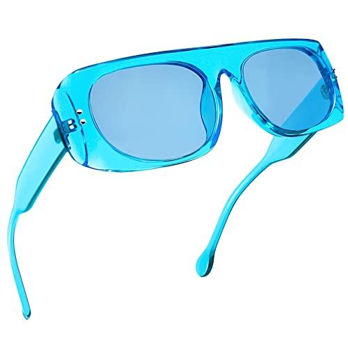 KANASTAL Gafas de Sol Azules Rectangulares Mujer Polarizadas Vintage Clásicas con Protección UV400 para Señora Moda Sunglasses Women
