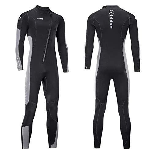 Traje de neopreno para hombre y mujer, 3 mm, neopreno, con cremallera frontal, para buceo, surf, agua fría (negro+gris, 3XL)