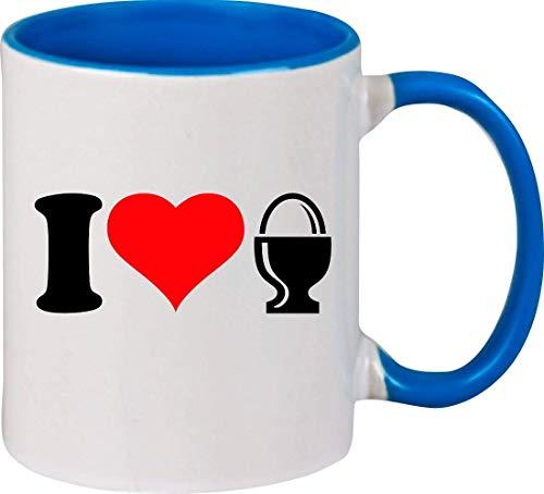 Shirtinstyle Grande Tasse à Café Tasse à Café I Love Cuisiner Grillage Cuire Œuf de Petit Déjeuner - Royal