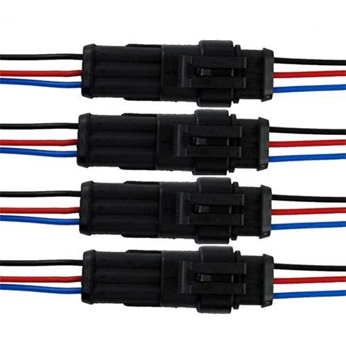 Qiorange 4 TLG 3 Poliger Kabel Steckverbinder Stecker, Wasserdicht Schnellverbinder mit Draht für Motorrad,Roller,Auto,KFZ LKW