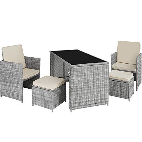 TecTake 800808 Conjunto de ratán, Asientos de jardín de poliratán con Mesa, Muebles de Exterior con Trenzado de ratán sintético, Conjunto de sillones, taburetes y Mesa para la terraza (Gris Claro)