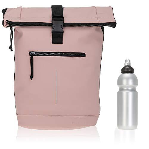 Rucksack Plane Time Bag Kurierrucksack Roll-up Fahrradrucksack Sport Fitness + Flasche (Rosé 13)
