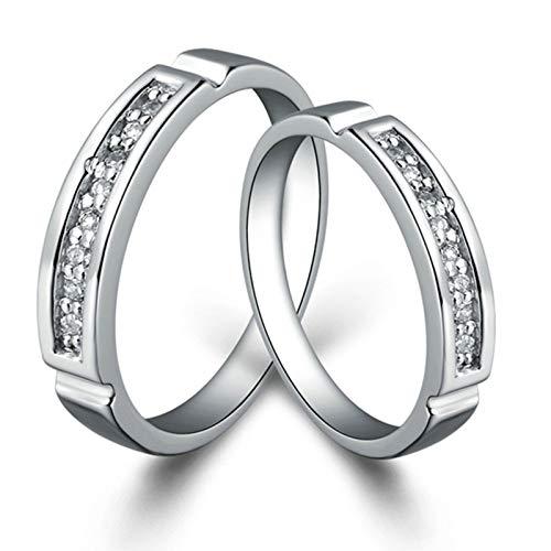 KnSam Ring Verlobung Gravur Eheringe Verlobungsringe Kupfer Versilber Rechteck Silber Ring Valentinstag Gedenkenstag Geschenk