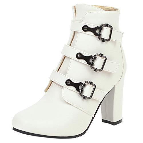 Cowboystiefel Damen TTLOVE Damen Stiefeletten Cowboy Boots Mit Blockabsatz Western High Heels PlüSch Wasserdicht Kurzschaft Stiefel Mit Blockabsatz(Weiß,40 EU)