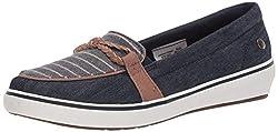 cheap Grasshoppers Women's Windsor Knot Blade Denim Striped Sneakers, Navy Blue, 7.5 US