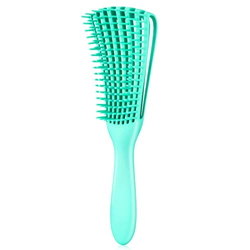 Detangling Brush for Afro America/African Hair Textured 3a to 4c Kinky Wavy/Curly/Coily/Wet/Dry/Oil/Thick/Long Hair, Knots Detangler Scalp Massage Comb Hair Detangler for Women (1 pc, Green)