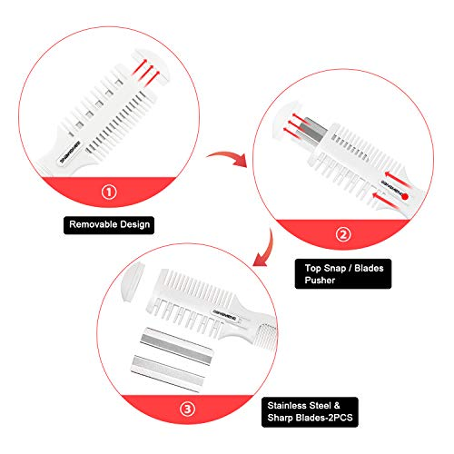 BANGMENG Hair Cutter Comb,Shaper Hair Razor With Comb,Split Ends Hair Trimmer Styler,Double Edge Razor Blades For Thin & Thick Hair Cutting and Styling, Extra 5 Blades Included.