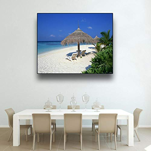 Wydlb Kalligrafie schilderij op canvas, muurkunst Tropical Beach Sea Lounge Chair Poster en printen, woonkamer Home Decor 70x90cm Geen lijst