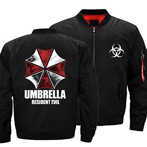 Chaqueta para Hombre - Resident Evil Print Casual Lightweight Sportwear Chaqueta De Manga Larga Traje De Vuelo con Bolsillos con Cremallera Black-5X-Large