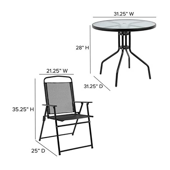 Flash Furniture Nantucket 6 Piece Black Patio Garden Set with Table, Umbrella and 4 Folding Chairs 4 Outdoor Retreat: Change your setting relax, entertain, eat, drink outdoors. Lightweight chairs transport easily. Get your outdoor living space from boring to appealing with this glass patio table set with water wave top and umbrella Product Measurements: Table Size: 31.25 inch W x 31.25 inch D x 28 inch H | Base Size: 17.75 inch W x 19 inch L | Umbrella Size: 59 inch W x 59 inch D x 80 inch H; 76 inch H Closed | Chair Size: 21.25 inch W x 25 inch D x 35.25 inch H | Back Size: 17 inch W x 22.25 inch H | Seat Size: 17.25 inch W x 16 inch D x 16 inch H Tempered glass table with black metal base, floor glides, clean with water based cleaner