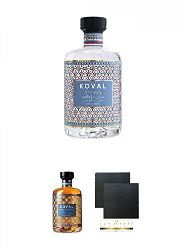 Koval DRY GIN 47% 0,5 Liter + Koval BARRELED GIN 47% 0,5 Liter + Schiefer Glasuntersetzer eckig ca. 9,5 cm Ø 2 Stück