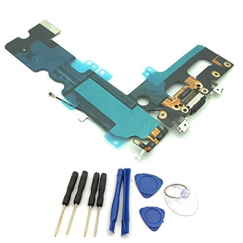 enoaFIX Dock Connector kompatibel mit iPhone 7 Plus Ladebuchse inklusive Lightning Anschluss, Mikrofon und Antenne in schwarz/Space Grey/grau - Mit Werkzeugset