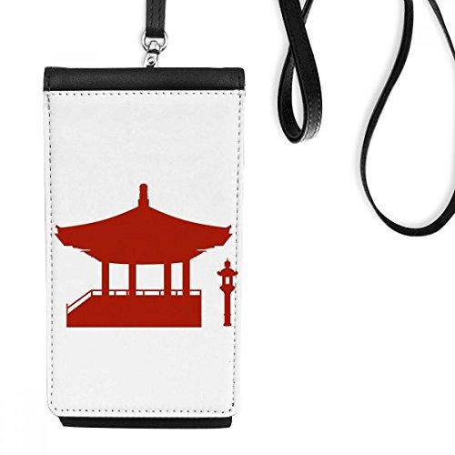 DIYthinker China Paviljoen Cultuur Silhouette Illustratie Patroon Faux Lederen Smartphone Hangende Handtas Zwart Telefoon Portemonnee Gift