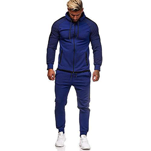 VANVENE - Tuta casual da uomo, pantaloni da jogging e felpa con cappuccio con zip intera, taglia M-5XL Blu XXXL