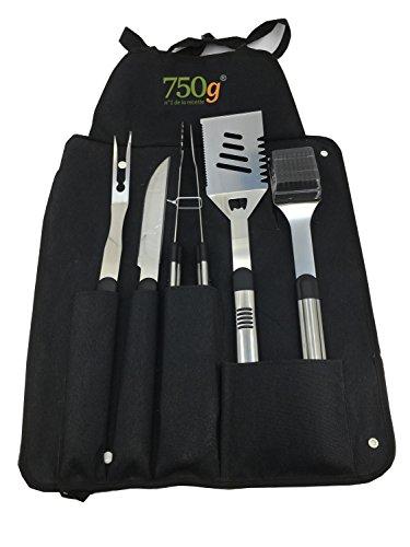750 G 3701071202702 Kit à Barbecue 5 Pièces et Tablier, Noir, 44x7x8 cm