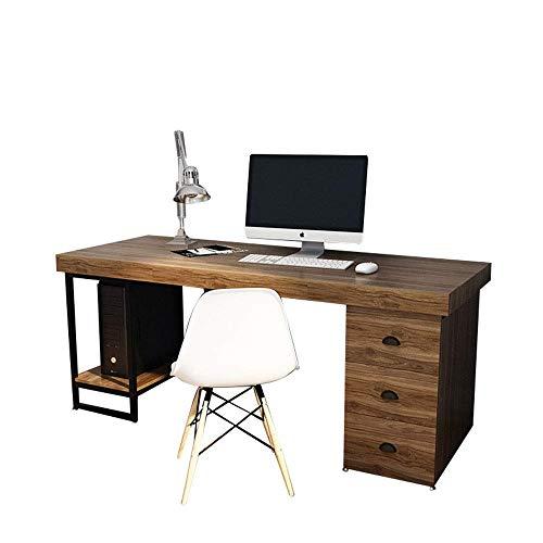 Equipo diario Escritorio de computadora para el hogar Mesas de computadora de escritura simple Gabinetes de archivos Almacenamiento de metal industrial Madera y oficina en el hogar (Color: Nogal Ta