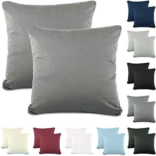 CelinaTex Active Kopfkissen Bezug Doppelpack Set 80x80 dunkel grau Baumwolle Jersey Nackenkissen Kissenhülle 5001542