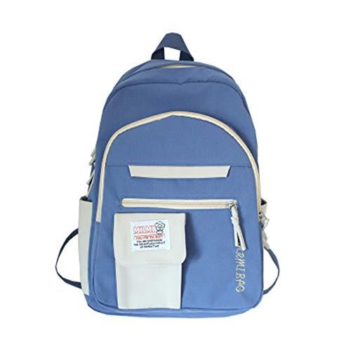 Gaoominy Mochila de Nailon Impermeable para Hombres y Mujeres Mochila Escolar Adecuada para Viajar Escuela Mochila Azul + Blanco