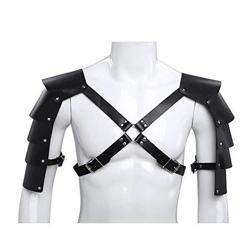 Trendy huishoudelijke verstelbare bed sport kit mannen ridders lederen lichaam borst harnas schouder guard armour kostuums zwart punk gotische partij cosplay kostuum