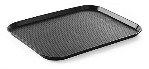 HENDI Serviertablett, Tablett, Temperaturbeständig bis 80°C, Fastfood, Polypropylen, 350x450x(H)20mm, Groß, Schwarz