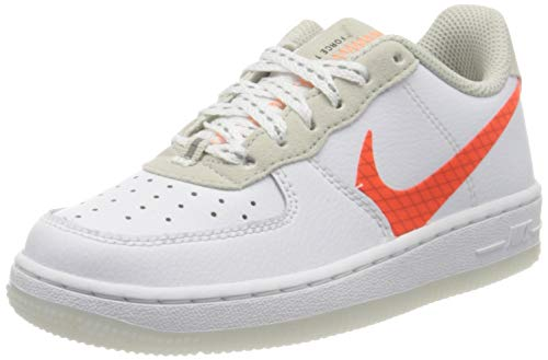 Nike Force 1 LV8 3 (PS), Scarpe da Basket Bambino, White/Total Orange-Summit White-Black, 29.5 EU