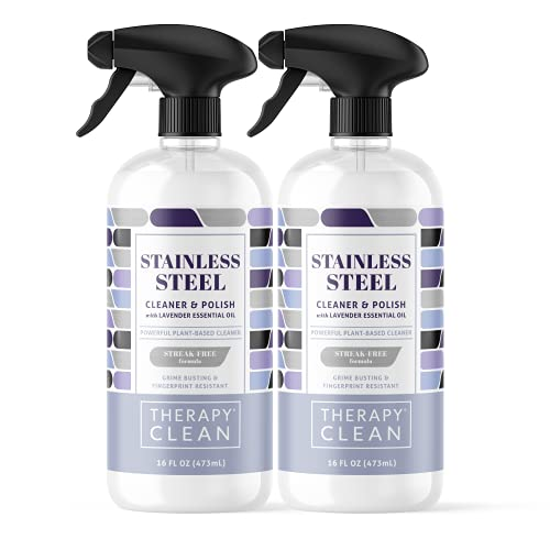 Therapy Stainless Steel Cleaner & Polish - 16 ounces (2 Pack) - Non-Toxic Fingerprint Removal and Leaves a Shine for Refrigerator Sink Grill