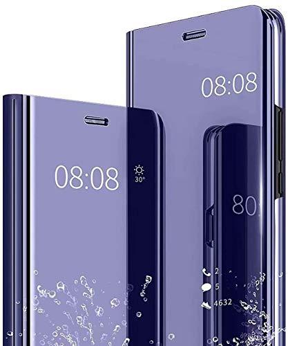 JIAFEI Funda Compatible con Xiaomi Redmi Note 10 Pro, Moda Delgado Perspectiva Espejo Tapa del Tirón Funda, Espejo Soporte Plegable Reflectante, Azul Morado