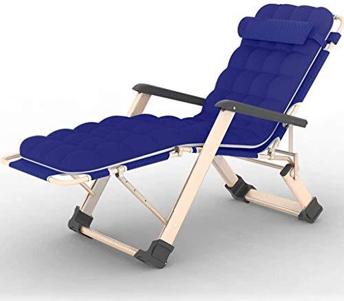 Xiesheng Liegestuhl Klappbar Gartenstuhl Sonnenliege Liegestuhl Lehnstuhl, mit Thick Wattepad Tragbarer Schwerelosigkeit Klappbett als Doppel Oxford Cloth Lounger Chair (Farbe, blau),Blau