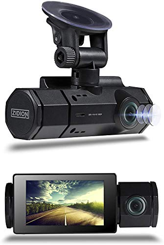 Zidion Z20 Dash Cam Car Video Recorder - 1920x1080p Full HD Front and Rear Dual Lens Auto-Recording with Wide-Angle View - Infrared LED, Night Vision, Motion Detection, G-Sensor and Parking Monitoring