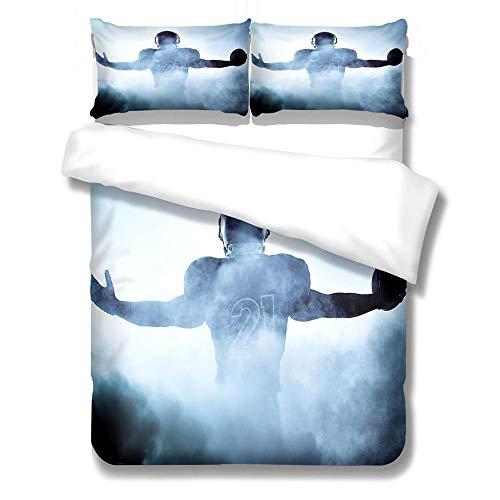 FAIEK Bettbezug Weißer Blauer Rauch Kissenbezüge Bettwäsche 3-Stück Für Kinder Jungs Kinderbett Sommer 100% Microfaser Bequem Atmungsaktiv Bettbezug Mit Reißverschluss,