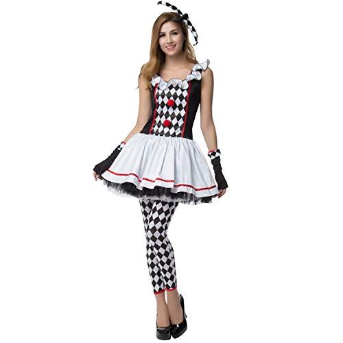 Petalum Damen Halloween Clown Kostüm Harlekin Karneval Witzig Faschingskostüm Tutukleid Handschuhe Skinny Leggings Strumpfhose