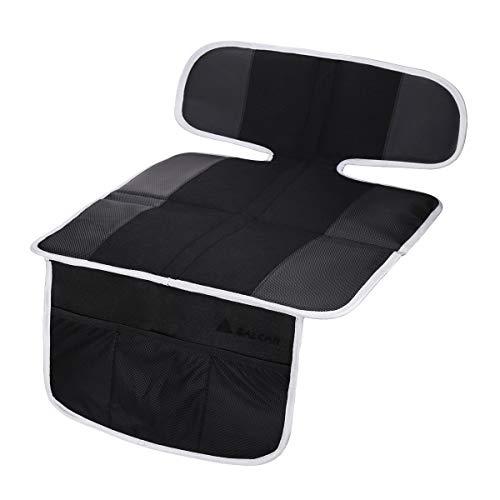 Salcar Protector de asiento de coche para bebe Antideslizante, Protección para niño y asientos de coche, Protector para asiento trasero para bebés y niños pequeños con función de almacenamiento, Negro
