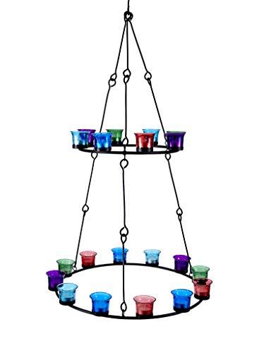 Bell Tent Boutique...Happy Glamping Teelicht-Kronleuchter mit zwei Ebenen (farbiges Glas)
