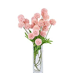 cn-Knight Artificial Mum Flowers Pom Pom 6pcs 24 Inch Long Stem Pompon Chrysanthemum for Wedding Bridal DIY Bouquet Home Décor Centerpieces(Pink)