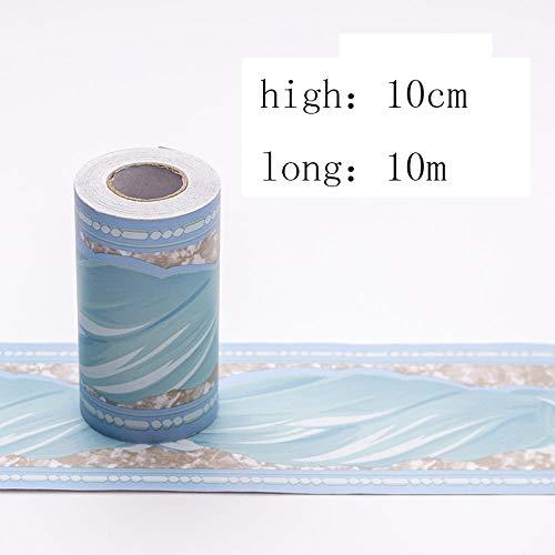 Papel pintado de vinilo autoadhesivo grueso resistente al agua, para decoración del hogar, baño, cocina, azulejos de decoración, azul