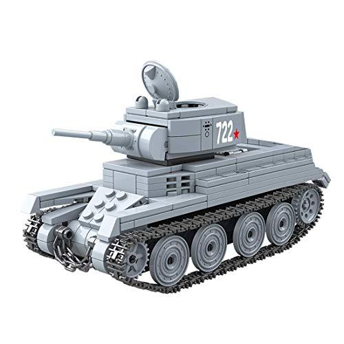 Kit de modelo de tanque, 462 PCS Ejército Tank Toy Puzzle para construir para niños, niñas, niños y adultos, pequeño bloque de construcción compatible con LEGO - SWAT WW2 Unión Soviética BT-7 Tanque