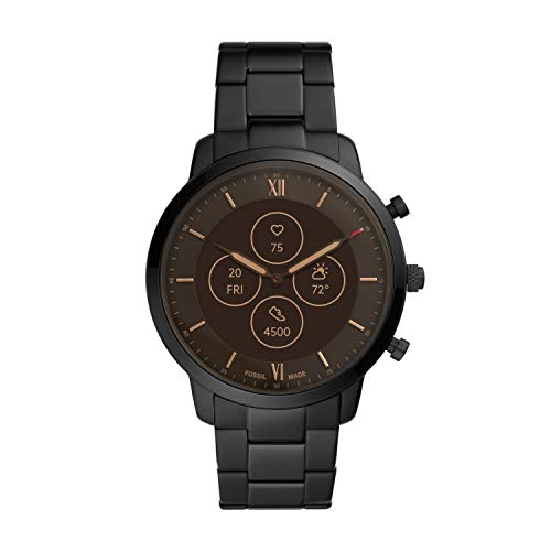 Fossil Men's Neutra Stainless Steel Hybrid HR Smartwatch, Color: Black (Model: FTW7027)