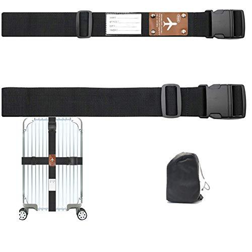 CHMETE Luggage Strap Elastic with Metal Buckle -Luggage Strap add a bag-2pack (Black2)