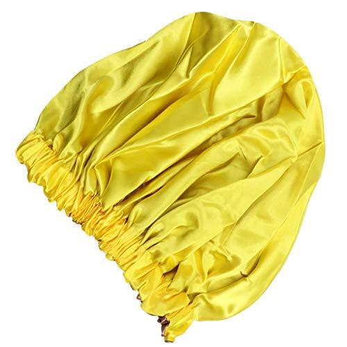 Lurrose Bonnets de Cheveux en Satin Bonnet Sommeil Bonnet de Nuit Réglable Double Couche Soyeux avec Cordon de Serrage pour Femme Salon de Maison Spa Dormir (Jaune)