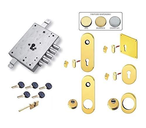 Kit de cerradura completo para puerta blindada de cilindro europeo Securemme Evo K1 ATRA DIERRE 4 pernos (placa larga y defender largo)