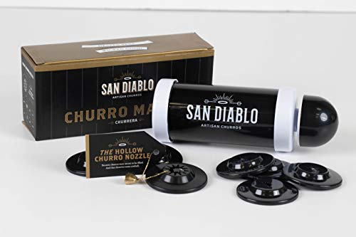 Churro Maker Churrera — Gourmet Kitchen Gadget w hollow nozzle for filled churros + 8 other nozzles + FREE e-book of recipes from top chefs and foodies