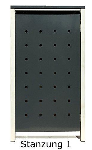 BBT@ | Hochwertige Mülltonnenbox für 3 Tonnen je 240 Liter mit Klappdeckel in Grau / Aus stabilem pulver-beschichtetem Metall / Stanzung 1 / In verschiedenen Farben sowie mit unterschiedlichen Blech-Stanzungen erhältlich / Mülltonnenverkleidung Müllboxen Müllcontainer - 6