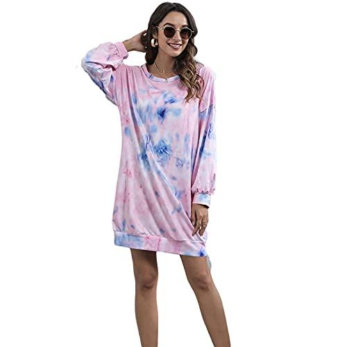 Yokbeer Suéter suelto de gran tamaño para mujer, cuello redondo, manga larga, holgado, ajuste casual, primavera, otoño (color: rosa, tamaño: M)