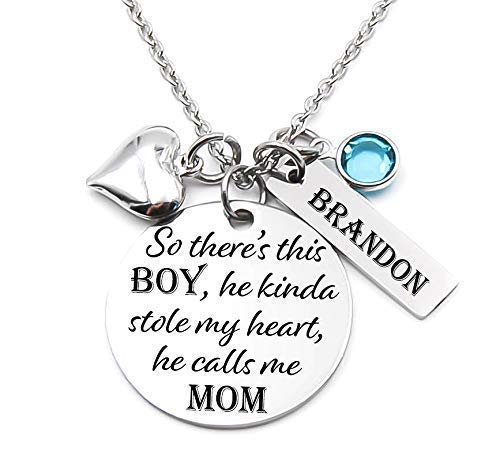 Mothers Charm Necklace Sterling Silver Jewelry for Her Mom of Boy Jewelry There/'s This Boy Who Stole My Heart He Calls Me Mom Necklace