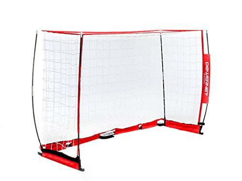 PowerNet Soccer Goal 6ft x 4ft Portable Bow Style Net | Collapsible Metal Base | Durable Lightweight Vertical Poles | Quick Setup EZ Storage | 1 Goal+1 Carrying Bag | Scrimmage Game | Rebounder
