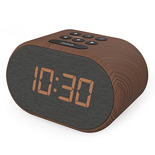 Radio Despertador con Cargador USB y Radio FM, Reloj Despertador Digital ,Pantalla con Iluminación Regulable en 5 Pasos, Alimentación de Red con Batería de Refuerzo (Efecto Madera)