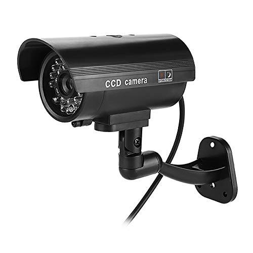 Cámara de Seguridad simulada Cámara CCTV Falsa a Prueba de Agua con luz LED roja Intermitente para Uso en Interiores y Exteriores (sin batería) - Negro