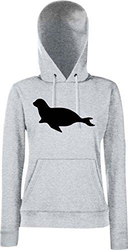 Unbekannt Lady Kapuzensweatshirt; Tiermotiv Robbe, Seehund, Seelöwe; Farbe: Sportsgrey, Größe XXL