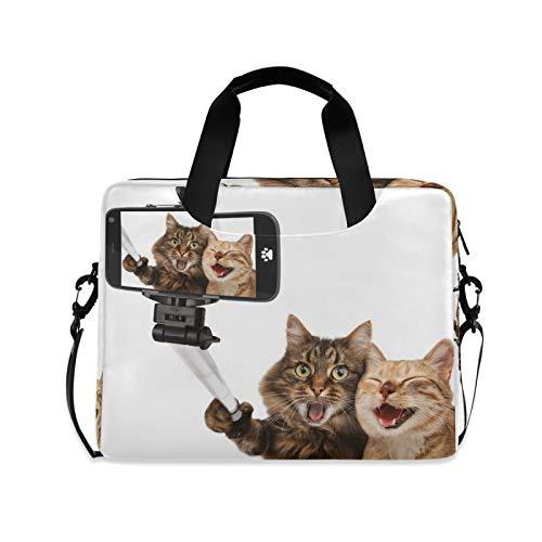 JNlover Lustige Tierkatze Selfie-Laptoptasche 16 Zoll tragbare Sleeve Aktentasche Laptop Case Notebook Computer Tragetasche Tasche für Damen Herren