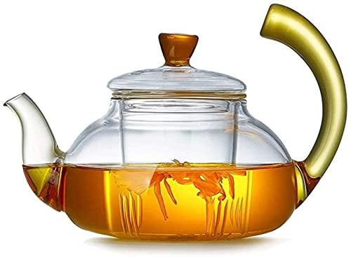FHISD Jarra de Agua de Vidrio Olla pequeña de Vidrio de borosilicato con Juego de infusión de Vidrio Desmontable Ideal para Hojas Sueltas o té en Flor Jarra de Vidrio Jarra de Agua Resis